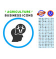 cattle thinking person rounded icon with set vector image vector image