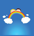 children head funny on rainbow vector image