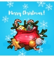 Christmas gifts in santa bag greeting card design vector image vector image