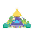 cute circus cat with layer and tent vector image
