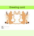 cute deer fold-a-long greeting card template vector image vector image