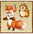 Cute red Fox and surprised brown hamster vector image
