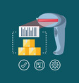 delivery service with barcode reader vector image vector image