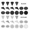 different pizza black icons in set collection for vector image vector image