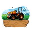 farm tractor on farming land vector image vector image