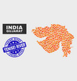 flamed mosaic gujarat state map and distress vector image vector image