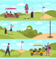 golf banners male and female characters vector image vector image