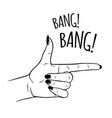 hand drawn female in gun gesture vector image vector image