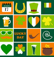 happy st patrick day set of holidays icons vector image