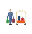 hotel staff bellboy suitcase bag trolley flat vector image