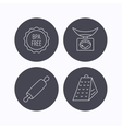 Kitchen scales rolling pin and grater icons vector image