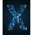 Letter X font from numbers vector image vector image