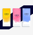 lovely colorful watercolor banners set vector image vector image