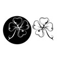 lucky four leaf clover tattoo in two variations vector image vector image