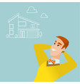 man dreaming about buying a new house vector image vector image