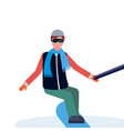 man snowboarder taking selfie by action camera vector image vector image