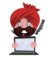 man with turban is holding laptop on white vector image vector image