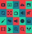 media icons set with image slow backward vector image vector image