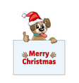 merry christmas card with cool dog in santa hat vector image vector image