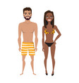 multiracial young man and women in beach swimsuit vector image