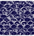 Navy blue and white grunge scallop geometric vector image vector image