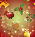 New year pattern gingerbread man mistletoe garland vector image
