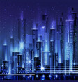 night city with neon glow and vivid vector image vector image