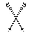 nord walking sticks icon outline style vector image