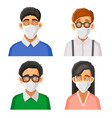 people avatars with protective masks set vector image vector image
