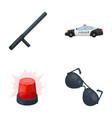 police baton auto flasher glassespolice set vector image