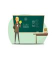 professor standing in front blackboard with vector image