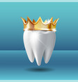 realistic white tooth in golden crown tooth care vector image vector image