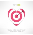 Red and white heart target icon with an arrow vector image