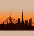 riga old town skyline during sunset time vector image