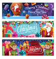 santa claus and elves christmas holiday vector image