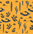 seamless pattern with desert landscape and cacti vector image vector image