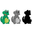 set crocodile character vector image