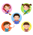 Set of kids mascot learning Icon for writing vector image vector image