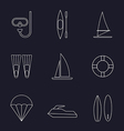 Set of water sport line icons isolated vector image vector image