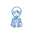 shopping man taking bags line icon concept vector image vector image