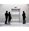 Silhouettes Waiting For Elevator vector image vector image
