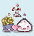 sushi and rolls cute kawaii cartoons vector image vector image
