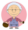 the grandmothers with a basket and mushrooms vector image