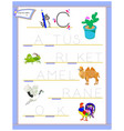 tracing letter c for study english alphabet