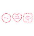 valentine line frame heart heart love card vector image