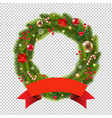 wreath with ribbon transparent background vector image vector image