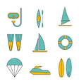 Set of water sport icons flat design isolated vector image