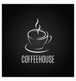 coffee cup logo design on black background vector image