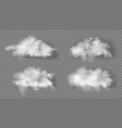 3d realistic transparent fluffy white clouds set vector image vector image