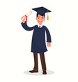 a graduate with a diploma guy in mantle vector image vector image